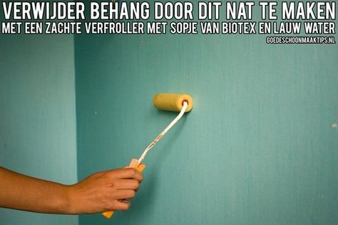 Behang verwijderen? Gebruik een zachte verfroller, geweekt in een sopje van biotex en lauw water. Meer tips vind je op www.goedeschoonmaaktips.nl