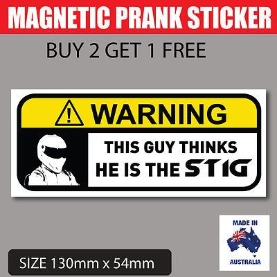 The stig funny prank magnetic bumper sticker magnetic bumper stickers and funny pranks