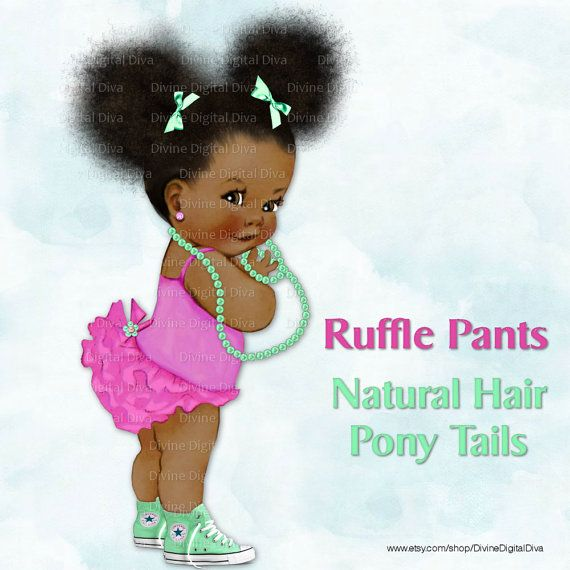 Ruffle Pants Natural Hair Pony Tails African by DivineDigitalDiva