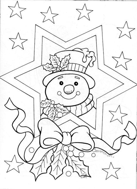 Snow man color page