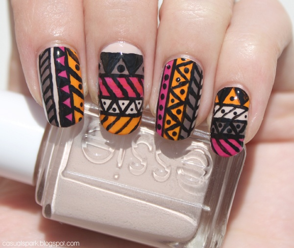 Casual Spark: 31 Day Challenge, Day 16: Tribal: Nail Challenges, Art Iii, Иαιlѕ Art, Nail Art, 31 Day Challenge