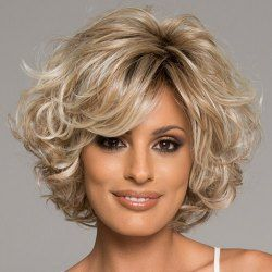 Stylish Side Bang Curly Human Hair Wig For Women