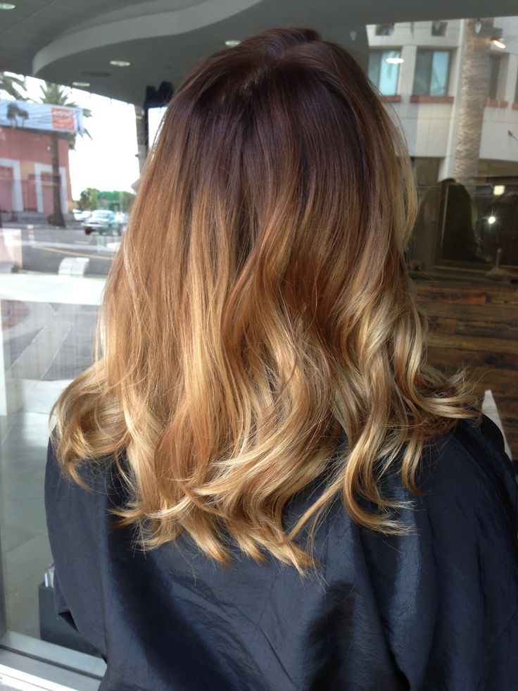 Ombre Hair Brown To Caramel To Blonde Medium Length Balayage ombré...