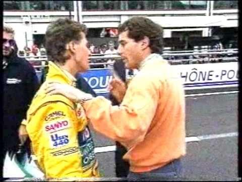Senna's tough row with Schumacher - YouTube