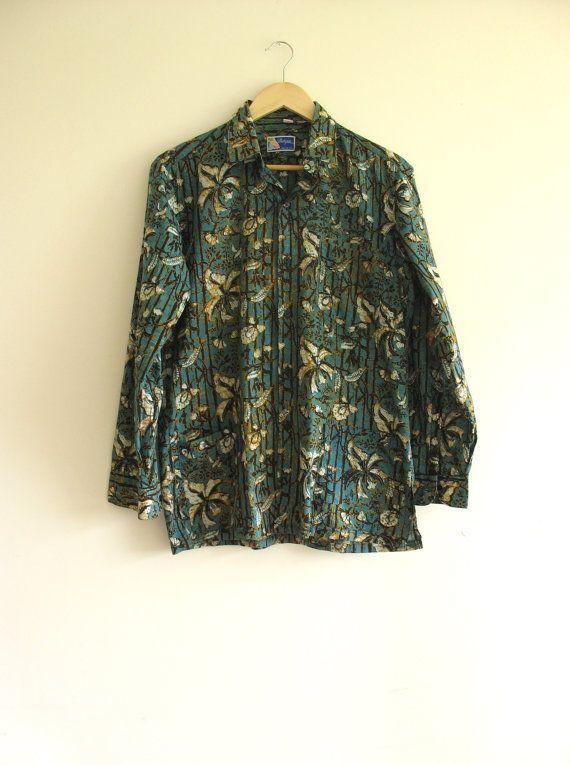 Vintage slim fit tropical batik shirt. Mens by SwanDiveVintage, $35.00