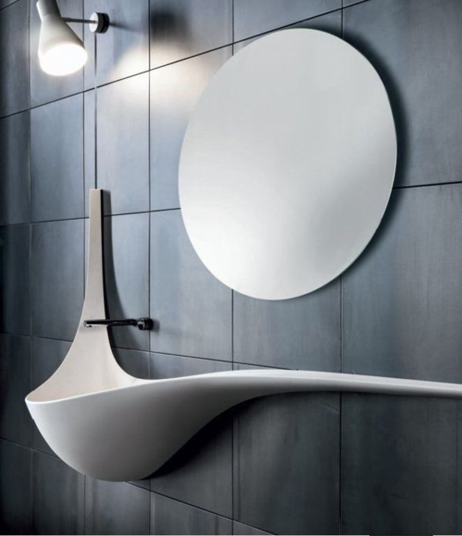 Modern Powder Room with Powder room, Wall sconce, Wall Mounted Sink, High ceiling, Falper Wing Art D5Q Wall-Mounted Washbasin