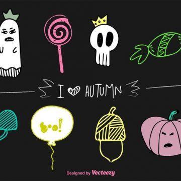 Free vector Autumn Halloween Vector Doodles #23024