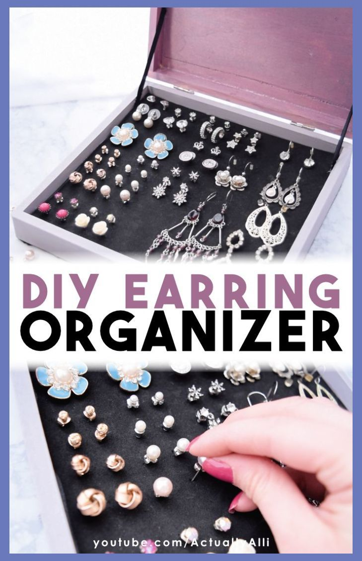 Jewelry Organizer Box Diy | DIY Earring Organizer | An easy solution for earring storage | PLUS 2 other DIY jewelry organization ideas with this video tutorial! | Actually Alli | #jewelryo... | Jewelry Organizer | Jewelry Organizer Drawer Dressers