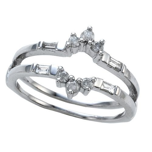 Round and Baguette Diamonds Ring Guard Wrap Solitaire Enhancer 14k White Gold | eBay