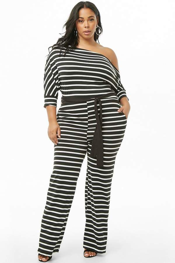 60c62db5737 Forever 21 Plus Size Striped Off-the-Shoulder Jumpsuit