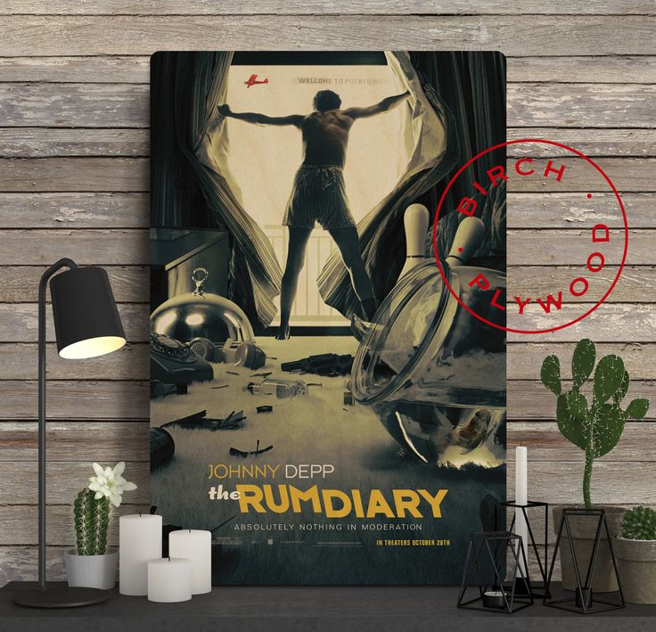 THE RUM DIARY - Poster on Wood, Johnny Depp, Giovanni Ribisi, Aaron Eckhart, Movie Posters, Unique Gift, Print on Wood, Wood Gift by InHousePrinting on Etsy