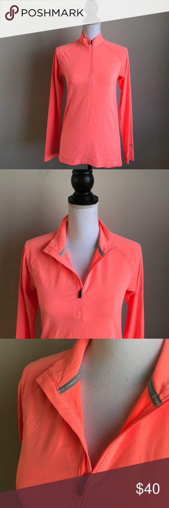Puma coral long sleeve tee golf size Small 3/4 zip Puma women's golf shirt in beautiful bright coral color. Size Small. Long sleeves: 3/4 zip neck. Puma Tops Tees - Long Sleeve