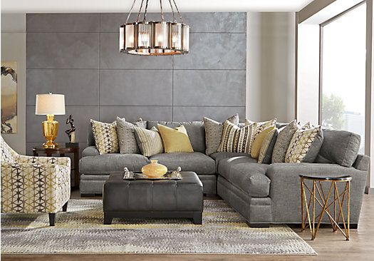 picture of Cindy Crawford Home Palm Springs Gray 3 Pc Sectional  from Sectionals Furniture