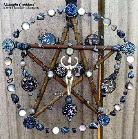 Midnight Goddess Small Pentacle Mixed Media Sculpture Blue, Black, Silver