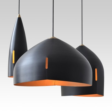 Pendant Light Fixtures ~ Use all three for an installation - dramatic & beautiful!    Vim & Vigor Modern Metal Light Fixtures