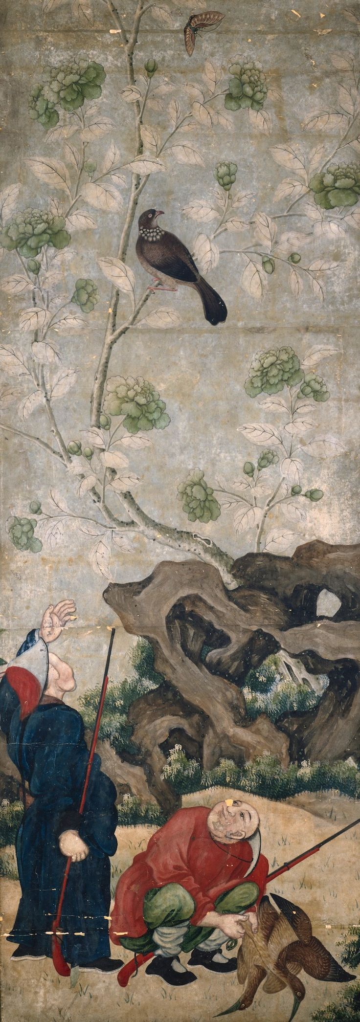 Panel of contemporary wallpaper from UK-based SurfaceView; image from original 18th c. Chinese goache on paper.