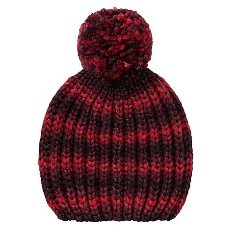 Buy Collection WEEKEND by John Lewis Spacedye Chunky Beanie Pom Pom Hat, Red Online at johnlewis.com
