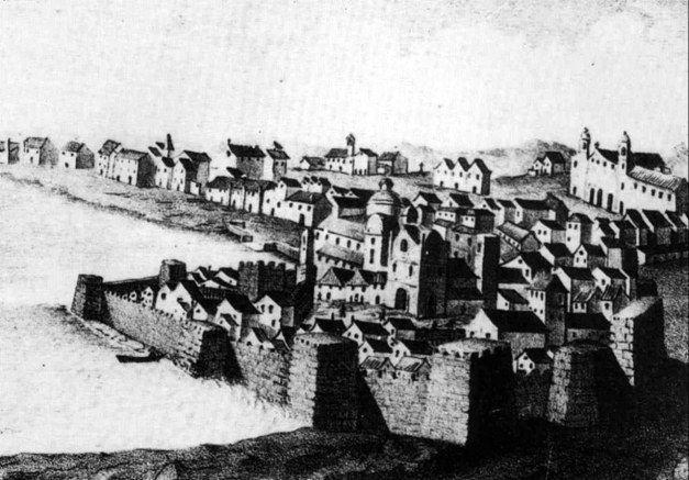 Gravura da cidade de Faro (Séc. XVIII). Autor desconhecido.
