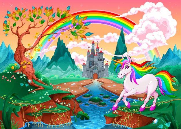 Unicornio En Un Paisaje De Fantasia Con Arcoiris Y Castillo