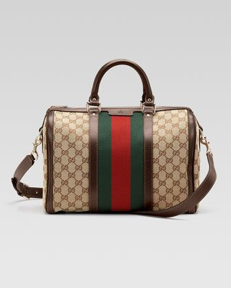 Gucci Vintage Web Medium Boston Bag Origin Italy but of course!  1921 craftsman Guccio Gucci opened his first store to sell fine leather goods the rest is history!  Unparalleled quality and workmanship.