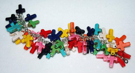 Rainbow Cross Bracelet Rainbow Bracelet Turquoise by KwaiJewellery, $50.00