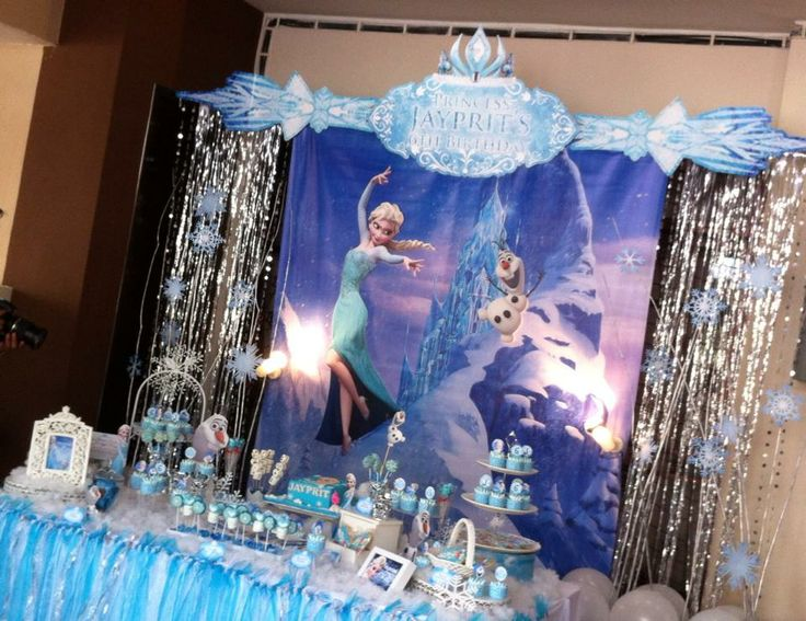 A Frozen themed birthday party! Backdrop & candy buffet ...