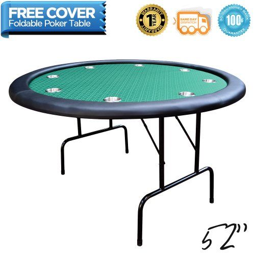 Deluxe Foldable 8 Player Casino Poker Table W/ Stainless Steel Cup Holders