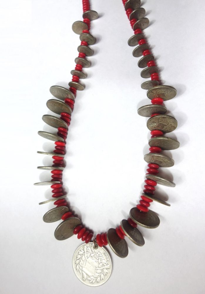 Antique Guatemalan Coins & Vintage Czech Red Trade Beads Chachal Necklace