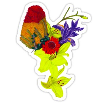 Bouquet with Yellow Sticker by StickerNuts