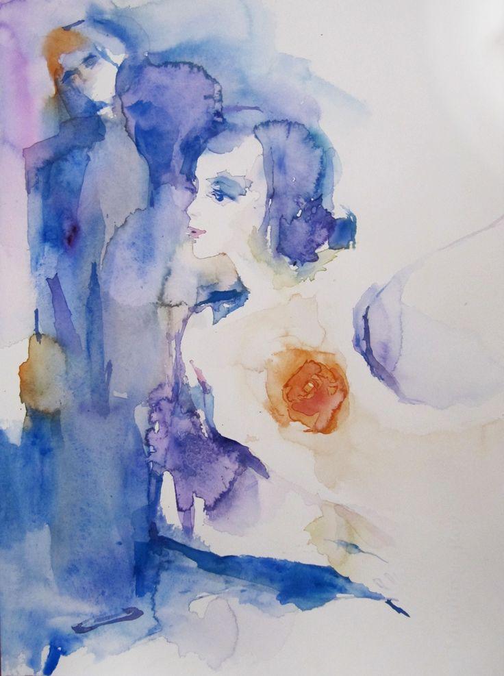 "Sylvia Baldeva • ""Allégresse"" • Aquarelle sur papier • KAZoART  #art #artcontemporain #contemporaryart #oeuvre #galereidart #artgallery #aquarelle #femme #nu"