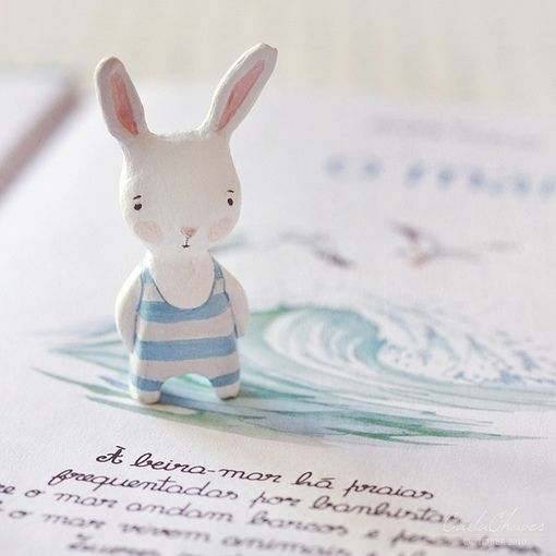 bunny in blue white 1-piece