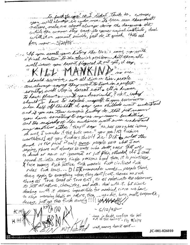 here are the complete contents of eric harris 39 infamous journal quo