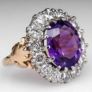 Vintage Amethyst & Diamond Halo Cocktail Ring 14K Gold - EraGem