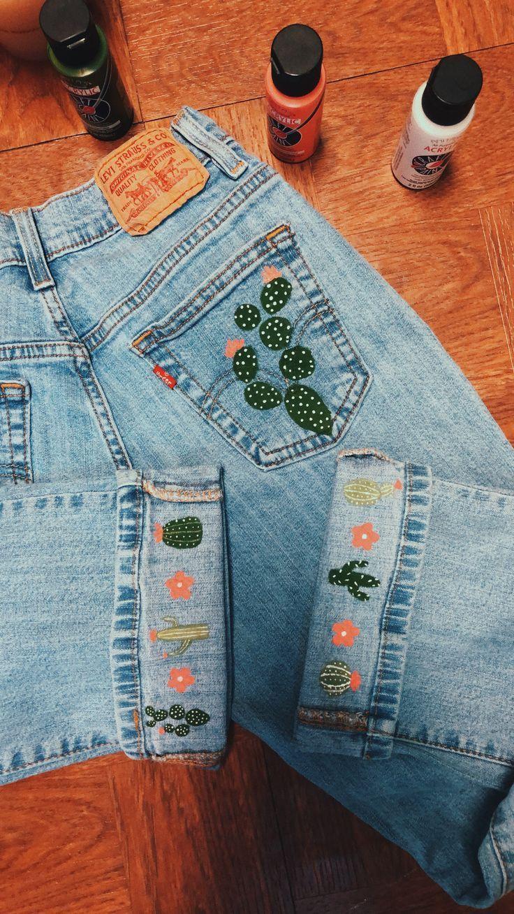 Kaktus auf Jeans gemalt, # gemalt # Jeans # Kaktus