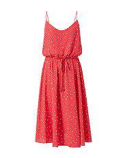 Orange/Yellow Pattern (Orange) Red Love Heart Print Strappy Waisted Midi Dress | 313815889 | New Look