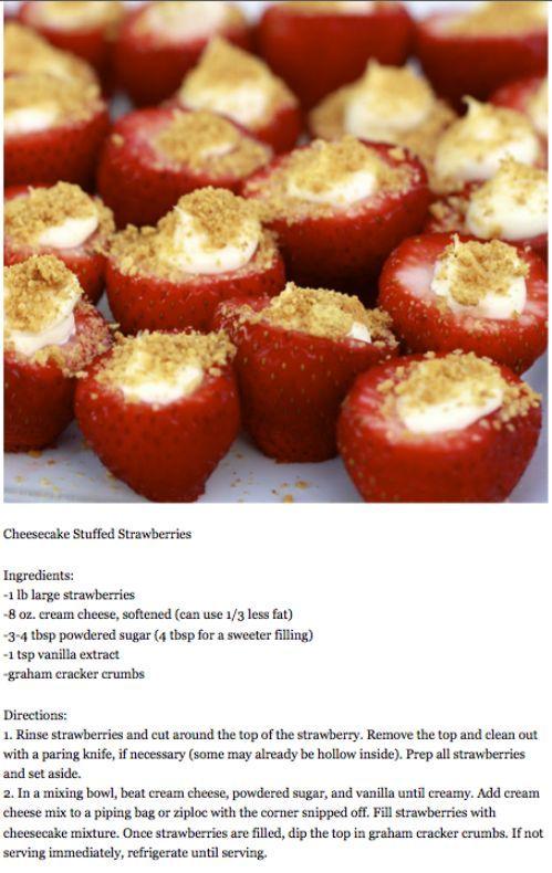 Cheesecake stuffed strawberries...OMFG