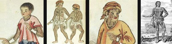 Illustrations from the Boxer Codex depicting the tattoos of the ancient Visayans. c.1595. Last image is a carving of Prince Giolo, a tattooed native known to be from a southern island (Miangas) previously part of the Philippines. #filipinotattoosancient