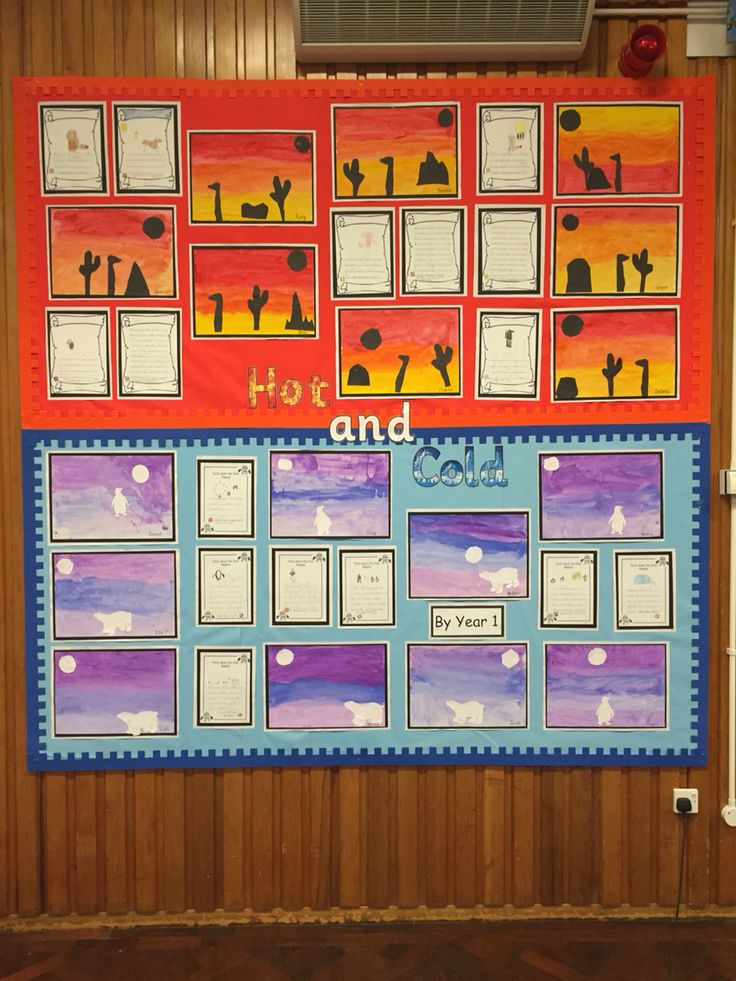 Hot and cold display board. Hot and cold scenes and writing. #schooldisplay #display #school #infant #keystageone #artwork #writing