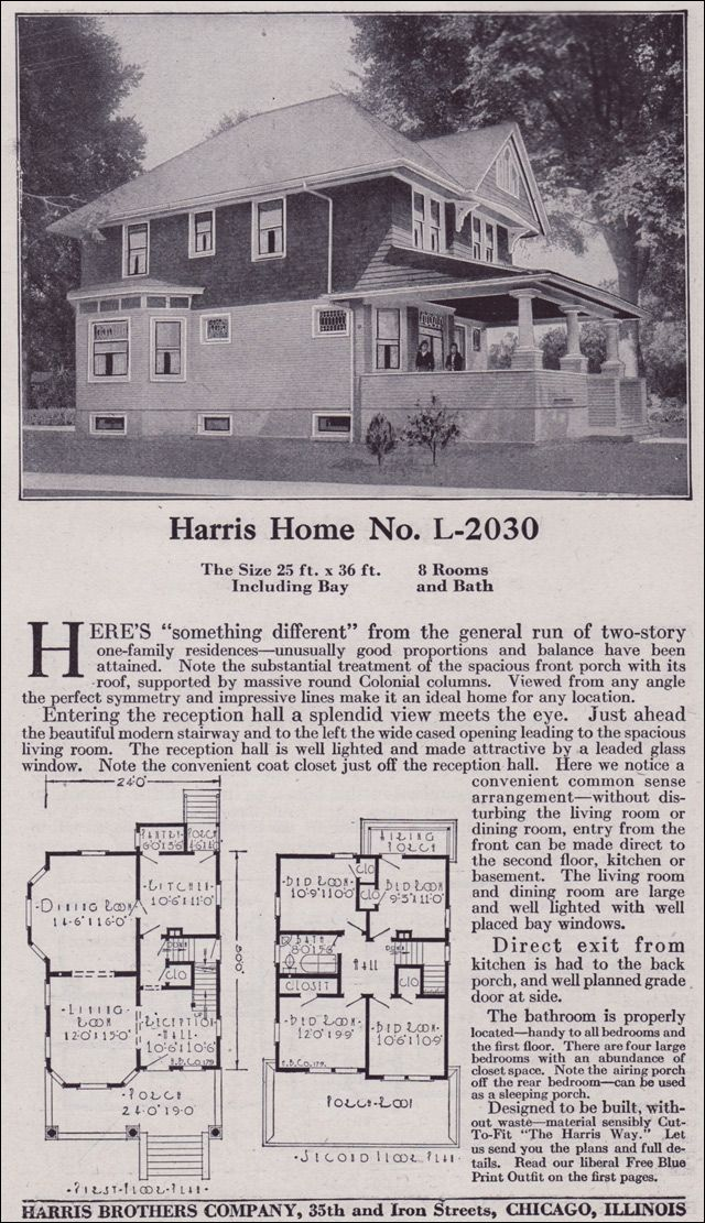 1918 Transitional Queen Anne to Foursquare - Harris Bros. Co. Kit Homes Catalog - Plan L-2030