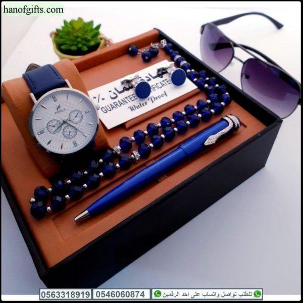 طقم ساعات رجالية فخم مع قلم و كبك و سبحه و نظاره Leather Watch Exclusive Dress Leather