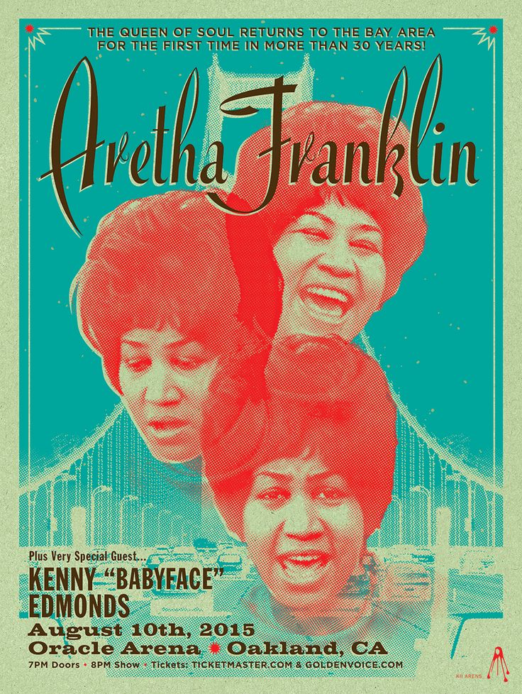 ARETHA FRANKLIN Oracle Arena OK CA 2015 Poster