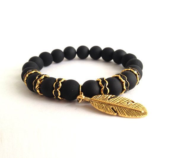 Matte Black Beads Arm Candy Beaded Bracelet with Black Rondelles & Wing Charm/// isn't this gorgeous -- check out