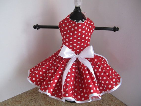 Dog Dress  Red with White Stars by NinasCoutureCloset on Etsy