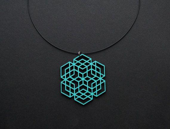 Hexagon necklace painted wood pendant arabic motif by elfinadesign