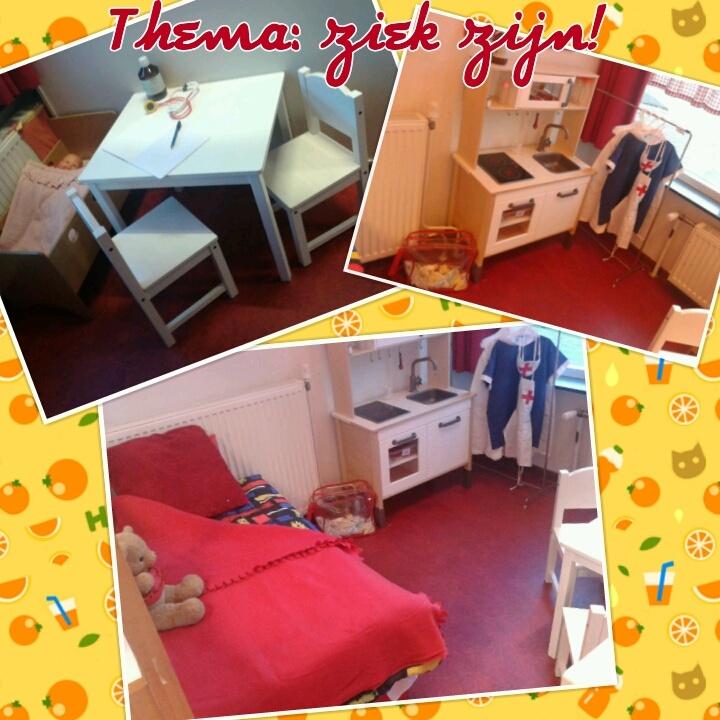 Huishoek wordt behandelkamer bij de dokter met apotheek (in het keukentje), bed(van zachte speelblokken uit de speelzaal) en wachtkamerstoelen natuurlijk:)