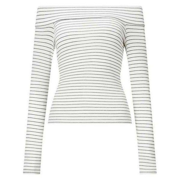 Cream And Navy Stripe Bardot Top - Tops - Apparel - Miss Selfridge US ❤ liked on Polyvore featuring tops, stripe top, navy stripe top, white top, miss selfridge tops and miss selfridge