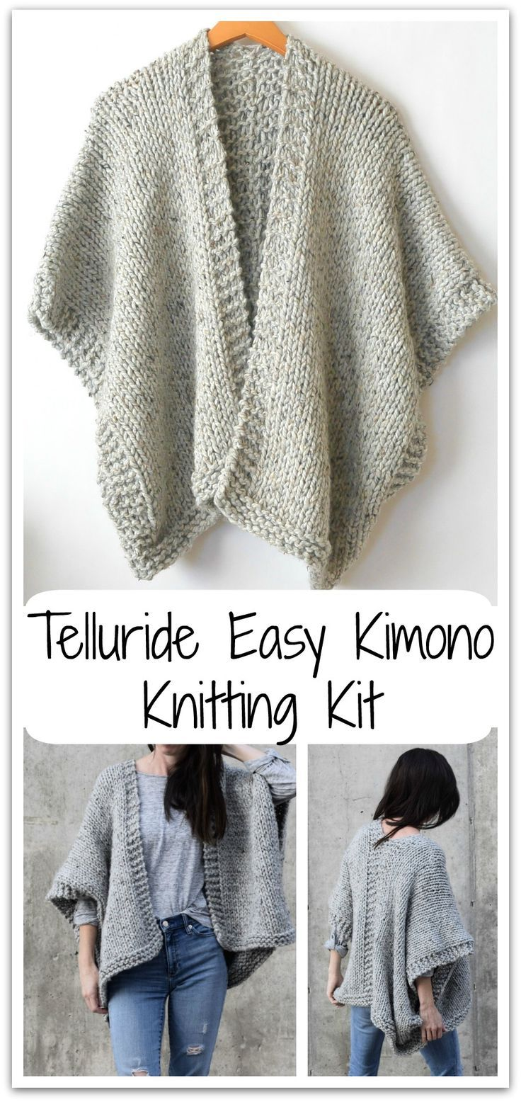 It doesn't get comfier or warmer than this cozy, beginner friendly knit kimono. Made with super bulky yarn and large needles, it works up fairly quickly and is a dream to wear on cold days. #ad #affiliate #knitting #diy #crafts