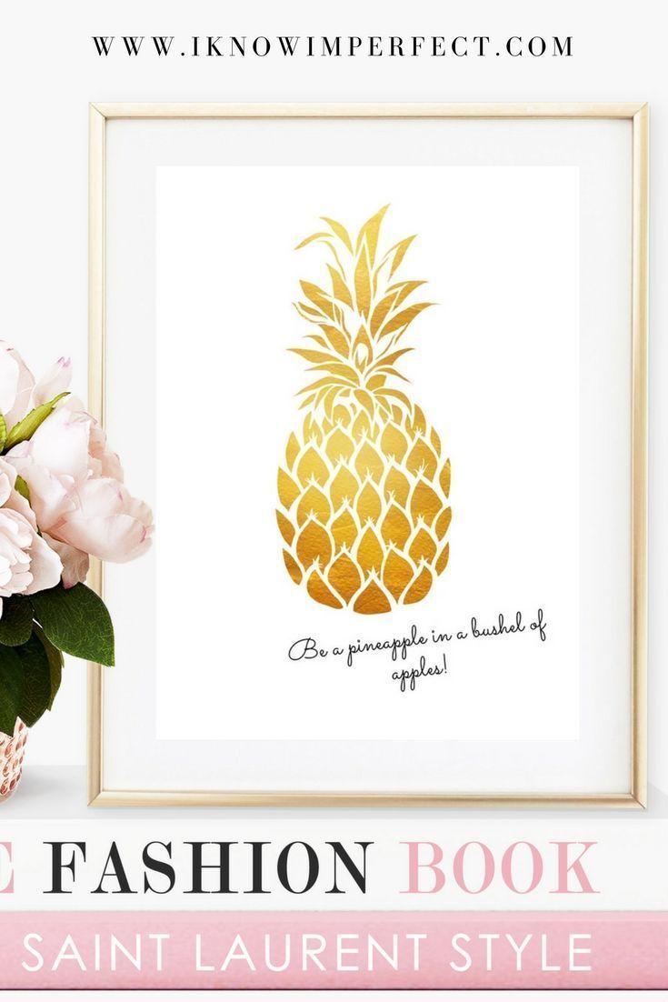 Pineapple printable, pineapple wall art, downloadable, gold ...