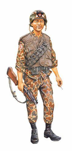 Granadero Ranger, armado con lanzagranadas M79 de 40 mm, ARVN, 1966. South Vietnam Army, pin by Paolo Marzioli