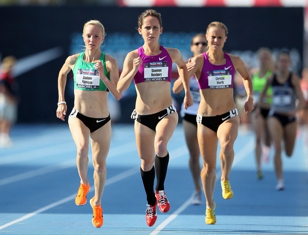 Shalane Flanagan, Shannon Rowbury and Christin Wurth compete in the Womens 1500 Meter Preliminaries during the 2010 USA Outdoor Track & Field Championships at Drake Stadium on June 24, 2010 in Des Moines, Iowa.